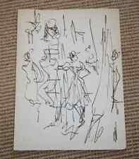 Dessin Charles Kiffer (1902-1992) danseuse en coulisse Opéra de Paris env 1950
