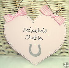 Personalised Shabby Chic Heart Sign ~ Girls Bedroom ~ Horse Lover ~ Any Colour