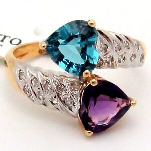 Double Heart Cocktail Ring Diamond Blue Topaz Amethyst 2.93TCW 14K Two-tone Gold