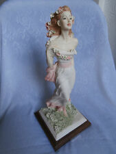 RARE VITTORIO TESSARO SCULPTURE LADY STOOD IN THE BREEZE WHITE PINK FLORAL DRESS