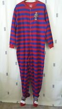 Nick & Nora Womens XL Red Blue Footie Pajamas One Piece Striped Sock Monkey IV8