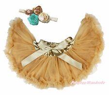 Goldenrod Gold Khaki Girl Baby Skirt Pettiskirt Dance Tutu Dress Clip 2PC 3-12M