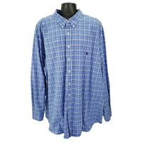 Polo Ralph Lauren Men's 4XLT Classic Fit Blue Plaid Long Sleeve Shirt 4XL TALL