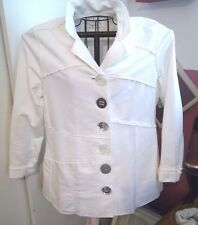 Ladies Off White Neon Buddha Cotton Jacket Mismatched Buttons Size L