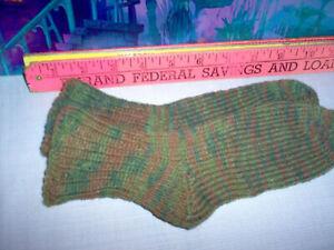 "New, hand knit socks 6.5"" Long. , green/brown stripe. # 36"