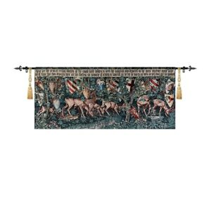 "William Morris Holy Grail Tapestry - Verdure with Deer and Shields 54""x24"" new"