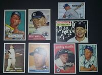 😃 50's Mickey Mantle Lot ✔ 1952 Topps Mickey Mantle Rookie Card 1951 Bowman 👌