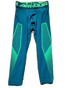 Mens Under Armor Compression Heat Gear 3/4 Leggings medium green