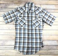 Levis Womens Size Small S Plaid Button Down Short Sleeve Shirt Top Pearl Snap
