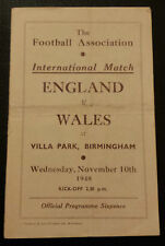 1948 ENGLAND v WALES PROGRAMME - Wartime International @ Villa Park