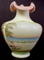 Fenton Glass Coastal Waters Lotus Mist Burmese Vase Connoisseur 95th Annivers