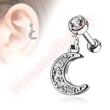 16G CZ Moon Dangle Cartilage Tragus Barbell Ear Ring Bar Stud Body Jewellery