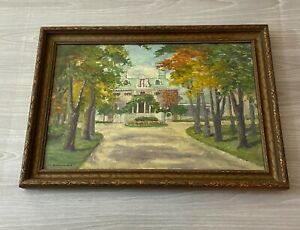 """Original Oil Painting on Board Framed & Signed S S Genevieve de N. 14.5"""" x 21.5"""""""