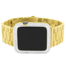 Iced Out Apple Watch 925 Silver Presidential Gold Tone Stainless Steel Band 42mm