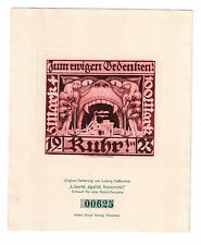 Deutsches Reich 1923: Entwurf für eine Ruhrhilfe-Marke Heßhaimer Radierung