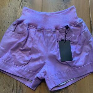 Biella Italy Soft Leather Shorts, Lilac, Medium, New