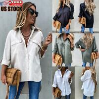 Women's Casual Solid T-Shirt Long Sleeve Shirt Tops Tee Loose Button Down Blouse