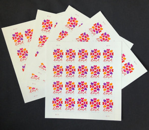 100 Hearts Blossom Love US Forever Stamps '5 Sheets Of 20 each'