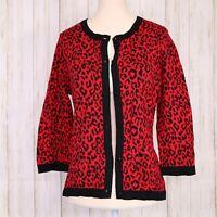 Chicos Sz 0 Red Black Animal Print Cardigan Sweater Womens Size 4 Small Cotton