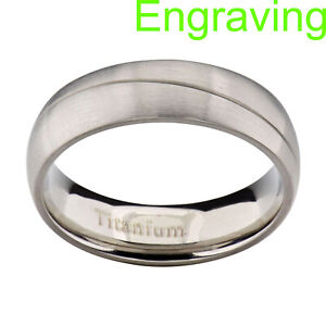 6mm Titanium Satin Polish Dome Top Grooved Men's Women's Wedding Engagement Ring