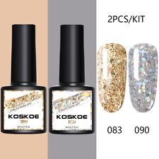 Koskoe 2 Bottles 8ml UV Gel Polish Soak Off Gel Nail Polish Glitter Nails Kits