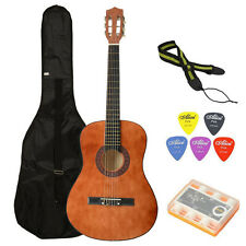 School Student Beginners Acoustic Guitar Brown with Case +Strap + Tuner + Pick