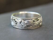 Men's Solid 925 Sterling silver Dragon Spinner ring 8mm band Gift for him
