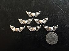 25 pcs Antique Silver Tone Metal 22X9mm Angel Wings w Center Heart Beads