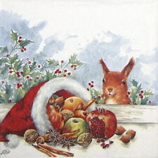 4x Paper Napkins for Party, Decoupage- Christmas Fruits from Santa