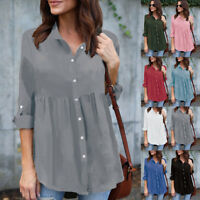 Women Button Down Chiffon Shirt Roll Sleeve Casual Work OL Blouse Tops Plus Size