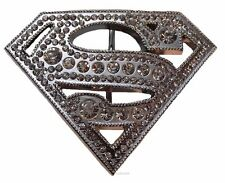 "DC Comics SUPERMAN ""S"" Logo Silvertone/Rhinestone BELT BUCKLE"