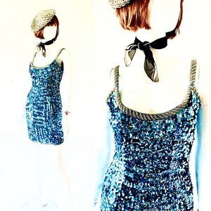 VTG 80's SWEE LO Blue Sequins Wiggle Bombshell Mini Dress S/M