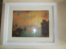 "Antique 1926 White Wood Framed 'Grand Canal"" M Ferris Smith Framed Art Print"
