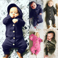 Newborn Baby Boys Girls Long Sleeve Romper Bodysuit Jumpsuit Clothes Outfits KK