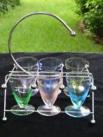 Set of 6 Vintage Multi Color Aperatif Cordial Shot Footed Glasses with Holder