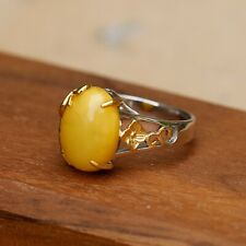 Elegant Natural Honey Amber Retro double color Vintage Ring  Silver S925 AS99