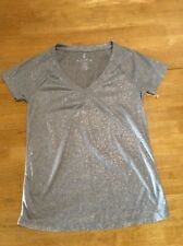 JUICY COUTURE Silver Tee T-shirt TOP Short sleeve V-neck size S