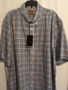 Roundtree Yorke Gold Label Men SS Shirt Cotton Sz XL XLT Blue Black Tan Pld NWT