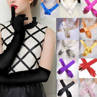 Womens Satin Long Gloves Opera Wedding Bridal Evening Party Prom Gloves Best
