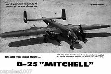"Model Airplane Plans (UC): B-25 MIitchell Semi-Scale Stunt 54"" Twin .19 Engines"