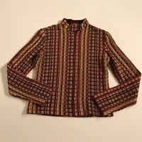 Missoni Women's Wool Silk Blend Long Sleeve Mock Turtleneck Knit Zip Up Sweater