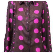 Ex Dorothy Perkins Polka Dot Purple Long Sleeves Top Size 10