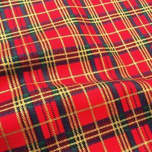 Traditional Christmas gold green tartan check Fabric 100% Cotton X HALF METRE