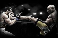 Incorniciato stampa-Anderson Silva Kicking Vitor Belfort in faccia (Picture UFC MMA