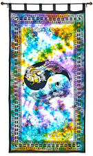 Twin Dragon Tapestry Curtain Purple Tie Dye Wall Hanging, Door-Window Curtain