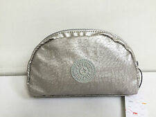 BNWT Authentic KIPLING Trix M Pouch Cosmetic Purse Wallet SilverBeige AC7381 $32