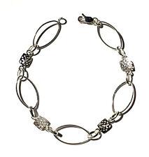 ".925 Sterling Silver Bracelet Oval & Square Filigree Link Chain 7.5"" L 6mm W SS"