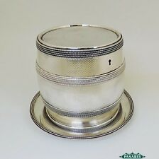 Victorian English Silver Plated Barrel Biscuit Box On Tray G.R Collis & Co C1880