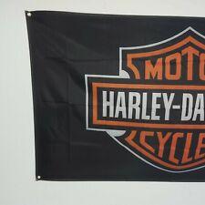 Harley-Davidson  Bar & Shield Logo Fahne Schwarz Neu