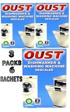 3 PACKS OUST DESCALER DISHWASHER & WASHING MACHINE 2× 75G 6 SACHETS ALL MAKES